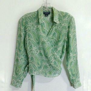 Ann Taylor Tops - Ann Taylor 100% silk wrap top green paisley sz 8P
